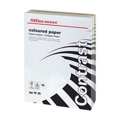Papier couleur Office Depot A4 160 g/m² Assortiment 250 Feuilles