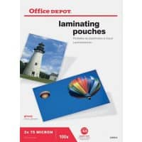 Pochettes de plastification Office Depot Brillant 2 x 75 (150) Micron A5 Transparent 100 Unités