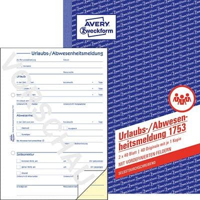 Formulaires de notification d'absence AVERY Zweckform 1753 Blanc, jaune A5 14,8 x 21 cm 40 Feuilles