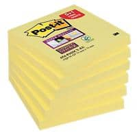 Notes Post-it Super Sticky 76 x 76 mm Jaune canari Pack avantage 90 Feuilles 5 + 1 GRATUIT