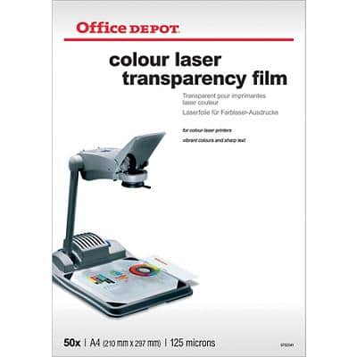 Transparents pour imprimantes laser couleur Office Depot 125 Microns A4 Transparent 50 Feuilles