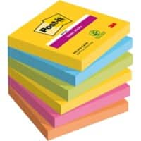 Notes Post-it Super Sticky 76 x 76 mm Couleurs Rio de Janeiro 6 Blocs de 90 Feuilles