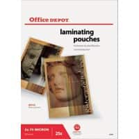 Pochettes de plastification Office Depot Brillant 2 x 75 (150) Micron A3 Transparent 25 Unités
