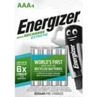 Piles rechargeables Energizer Extreme AAA HR03 800mAh NiMH 1,2V 4 Unités